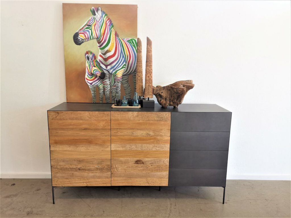 Sideboard Massivholz | Metall